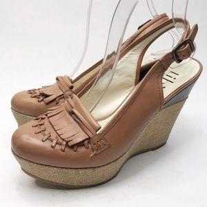 Tibi Kiltie Platform Wedges Tan Sandals
